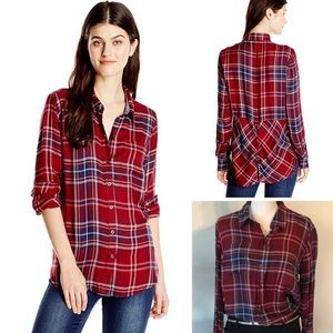 LUCKY BRAND Bungalow Plaid Flannel Top